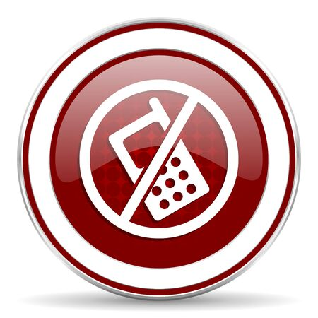 no phone red glossy web icon photo