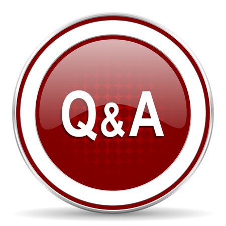question and answer: question & answer red glossy web icon