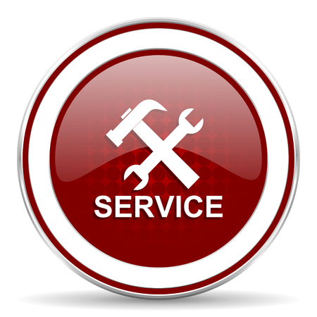 technological and communication: service red glossy web icon