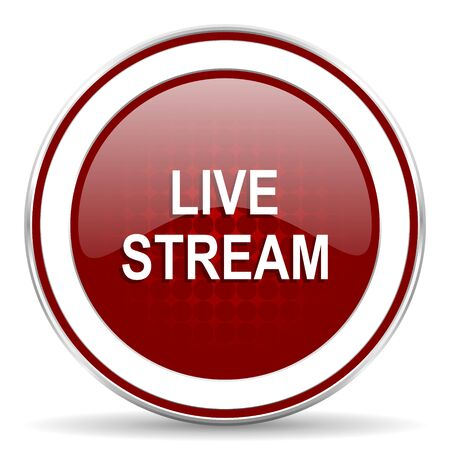 live stream tv: live stream red glossy web icon Stock Photo