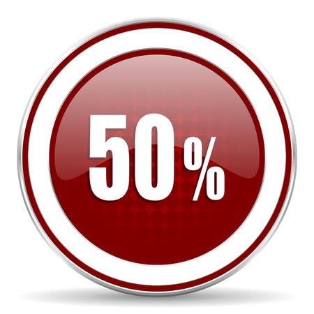 decreasing: 50 percent red glossy web icon Stock Photo