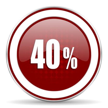 40: 40 percent red glossy web icon Stock Photo