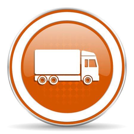 delivery truck orange icon photo