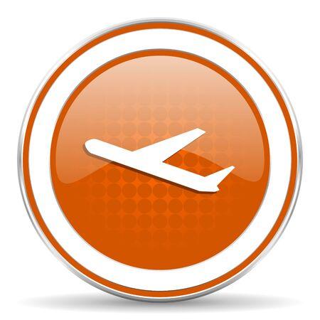 departures: departures orange icon, plane sign Stock Photo