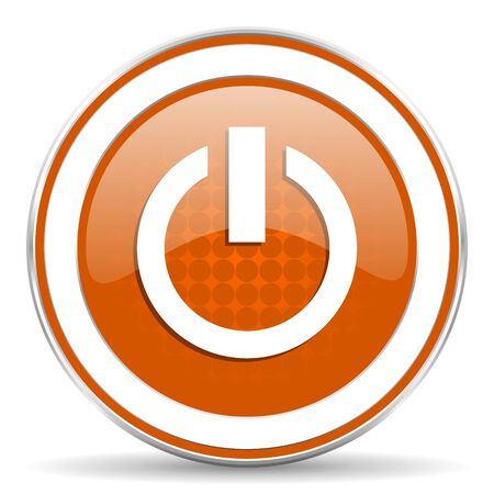 proceed: power orange icon on off sign