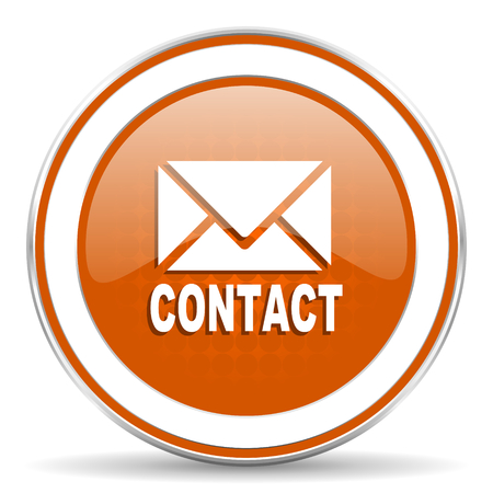 email contact: email orange icon contact sign Stock Photo