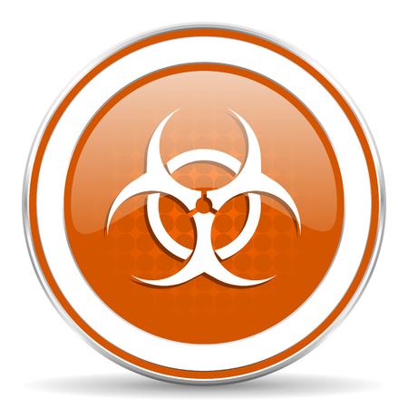 varez: biohazard orange icon virus sign Stock Photo