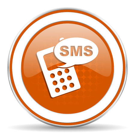 sms: sms orange icon phone sign