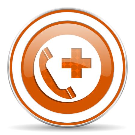 emergency call: emergency call orange icon Stock Photo