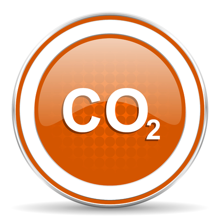 co2: carbon dioxide orange icon co2 sign