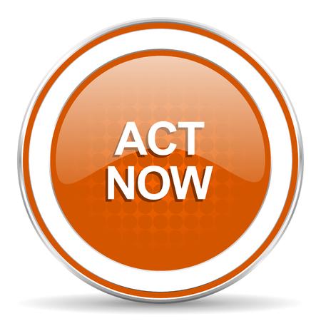 act: act now orange icon Stock Photo