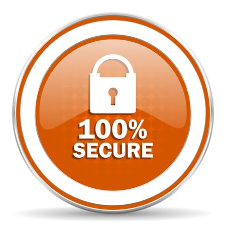secure: secure orange icon Stock Photo
