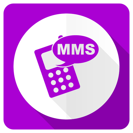 mms: mms pink flat icon phone sign Stock Photo