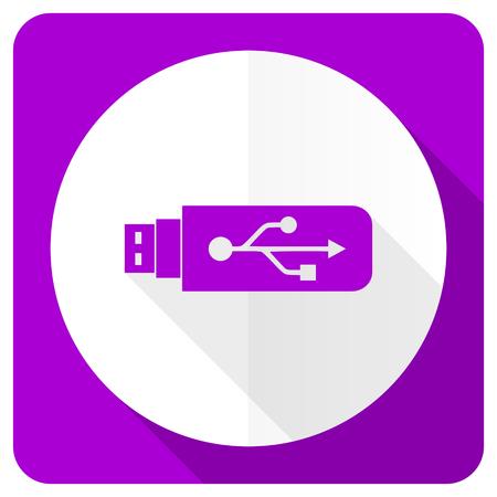 usb pendrive: usb pink flat icon flash memory sign Stock Photo