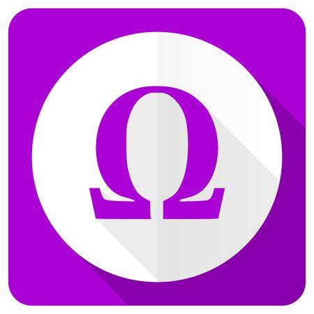 omega: omega pink flat icon
