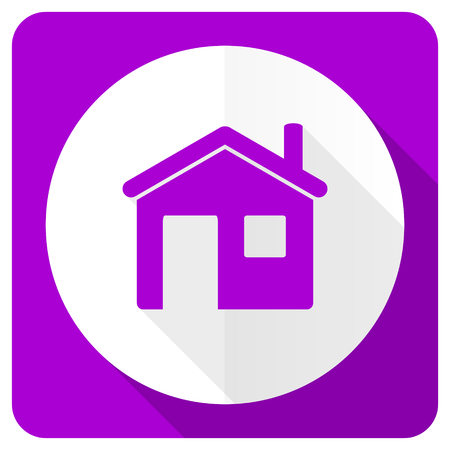 violet residential: house pink flat icon home sign Stock Photo