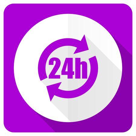24h: 24h pink flat icon Stock Photo