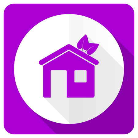 violet residential: house pink flat icon ecological home symbol Stock Photo