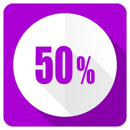 decreasing: 50 percent pink flat icon sale sign Stock Photo