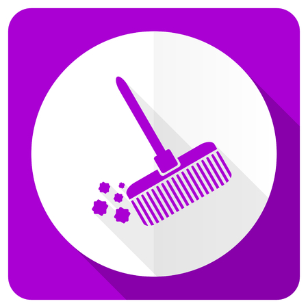 broom pink flat icon clean sign photo