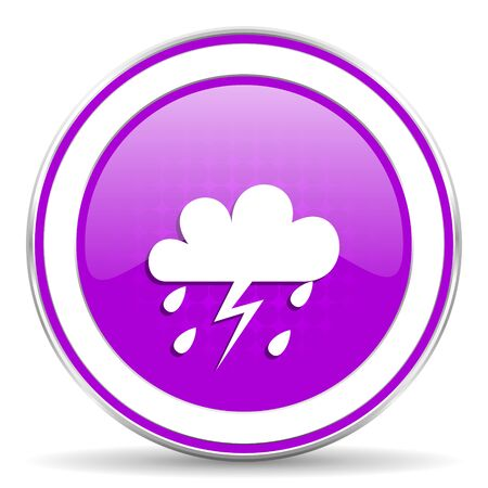pushbuttons: storm violet icon waether forecast sign Stock Photo