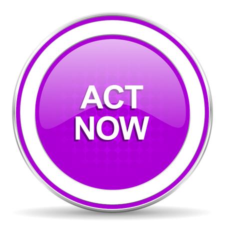 violet icon: act now violet icon Stock Photo