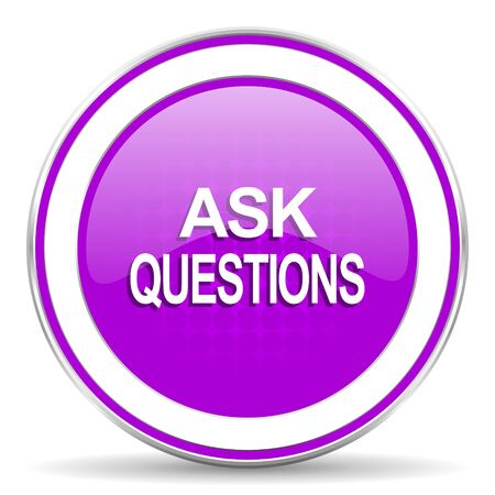 violet icon: ask questions violet icon Stock Photo