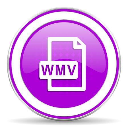 violet icon: wmv file violet icon Stock Photo