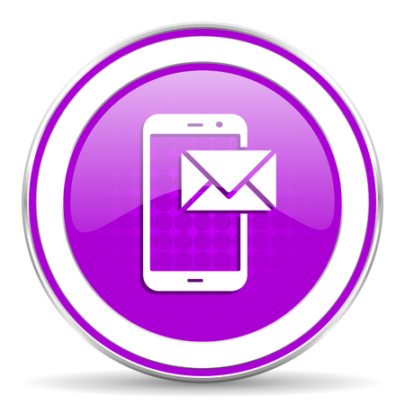 violet icon: mail violet icon post sign Stock Photo