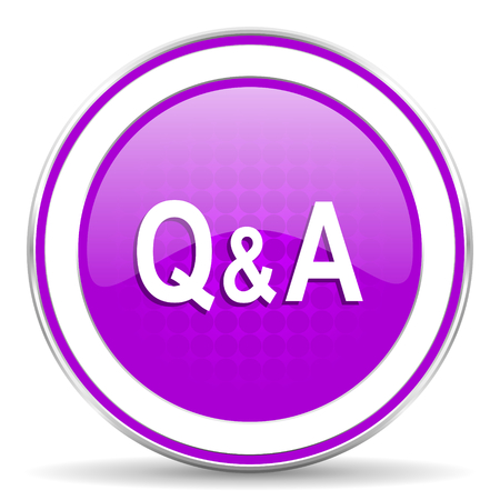 question and answer: question answer violet icon Stock Photo