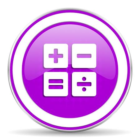 calc: calculator violet icon calc sign Stock Photo