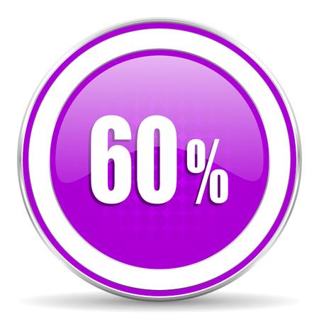 60: 60 percent violet icon sale sign