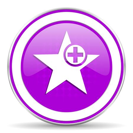 the favourite: star violet icon add favourite sign Stock Photo