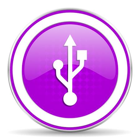 flash memory: usb violet icon flash memory sign