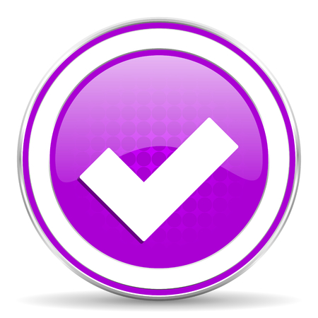 accept: accept violet icon check sign Stock Photo