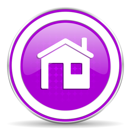 violet residential: house violet icon home sign Stock Photo
