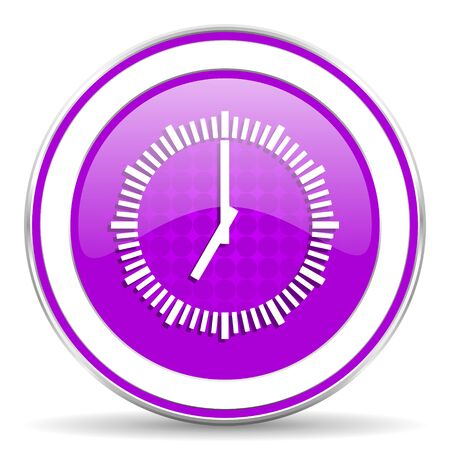 violet icon: time violet icon clock sign Stock Photo
