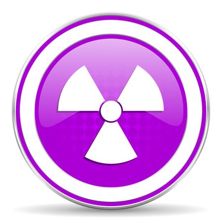 radiacion: radiaci�n violeta signo icono �tomo Foto de archivo