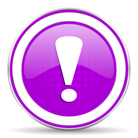 exclamation sign: exclamation sign violet icon warning sign Stock Photo