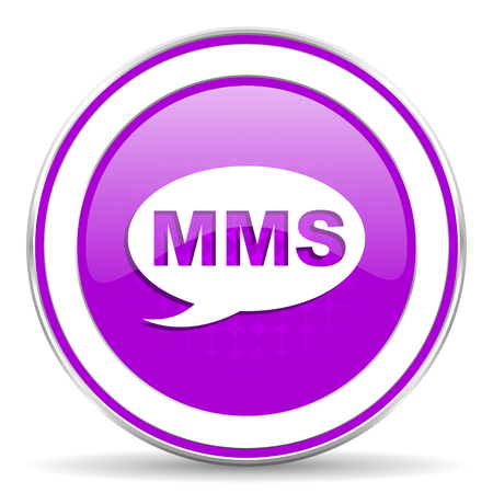 mms icon: mms violet icon message sign Stock Photo