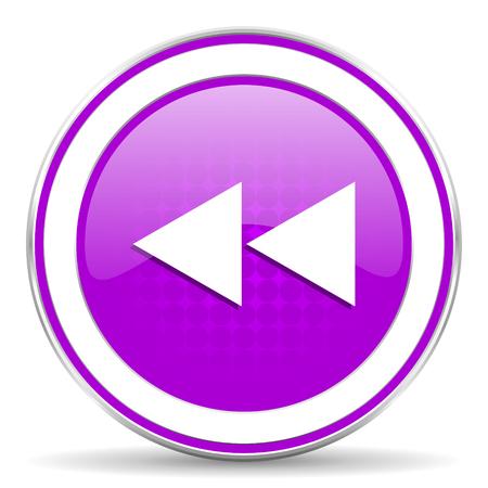 rewind: rewind violet icon Stock Photo
