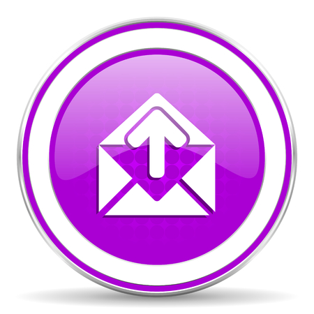 secretariat: email violet icon post message sign Stock Photo