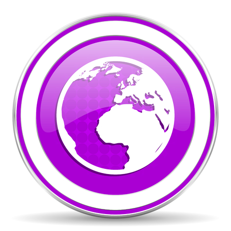 meridians: earth violet icon world sign