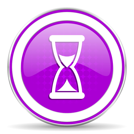 violet icon: time violet icon hourglass sign