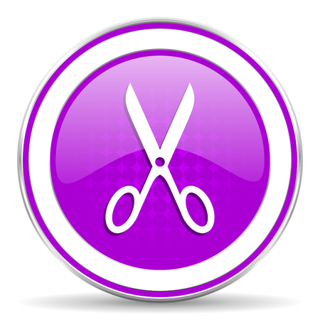 shampooing: scissors violet icon cut sign