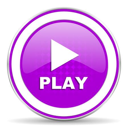 violet icon: play violet icon Stock Photo