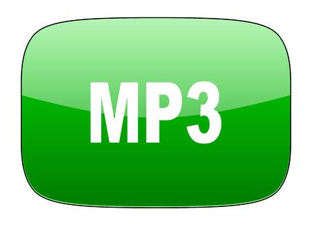 mp3: mp3 green icon Stock Photo