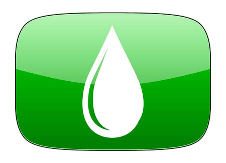 drinkable: water drop green icon Stock Photo