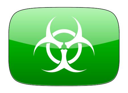riesgo biologico: signo de riesgo biológico virus icono verde Foto de archivo