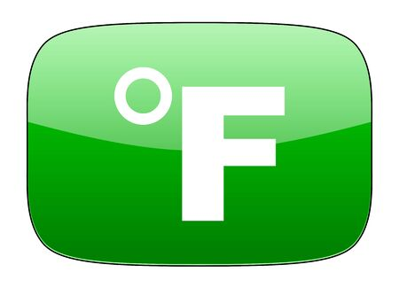 fahrenheit: fahrenheit green icon temperature unit sign
